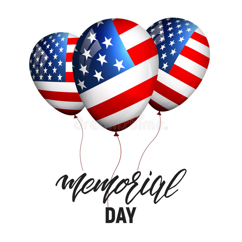 billboardu dzień odosobniony pamiątkowy biel Sztandar z balonami usa flaga i kaligrafia dzień pamięci royalty ilustracja