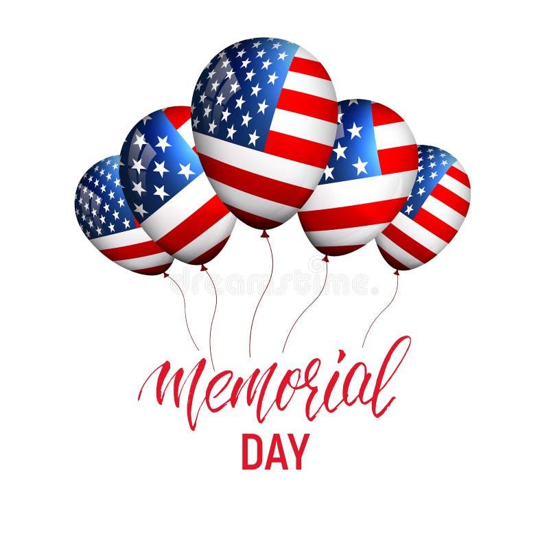 billboardu dzień odosobniony pamiątkowy biel Sztandar z balonami usa flaga i kaligrafia dzień pamięci ilustracja wektor