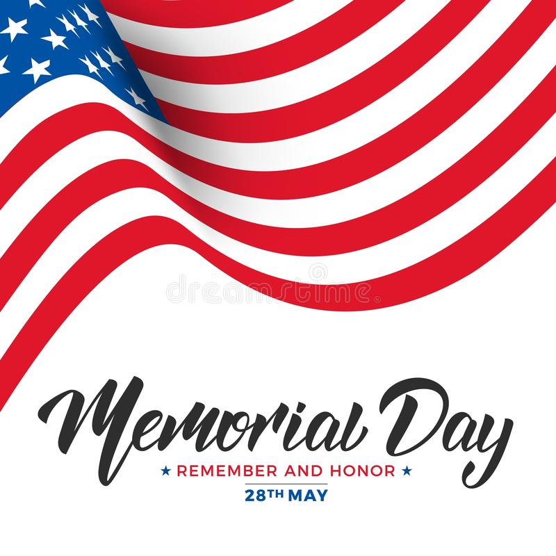 billboardu dzień odosobniony pamiątkowy biel USA dnia pamięci karta z literowania i falowania flaga usa ilustracja wektor