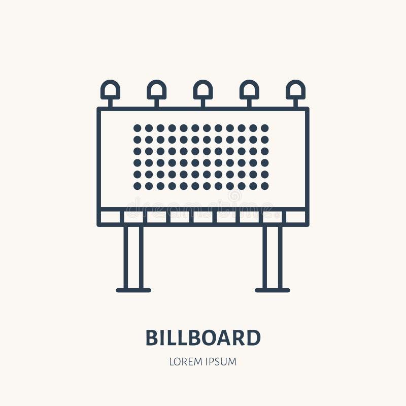 Billboardu mieszkania linii ikona Plenerowy reklamowy znak Cienki liniowy logo dla ulicznych reklam, wprowadzać na rynek usługa ilustracji