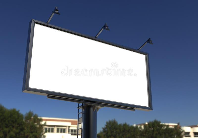 Billboardu pusty biel dla plenerowej reklamy plakata lub puste miejsce billboardu reklamy egzaminu próbnego w górę szablonu ilustracja wektor