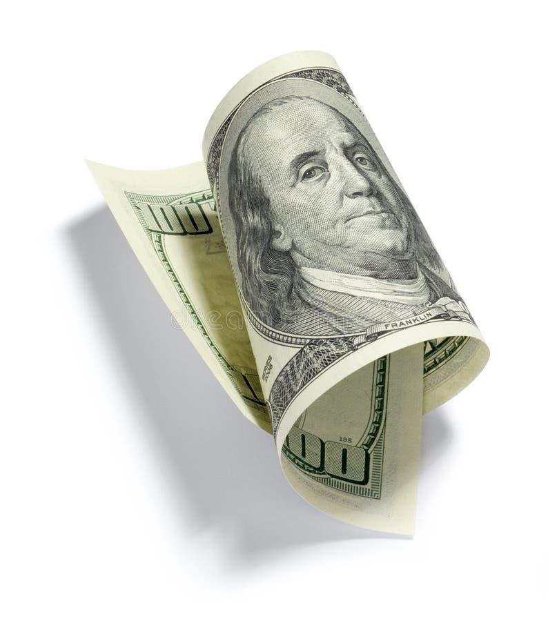 billdollar hundra en rullade royaltyfria foton