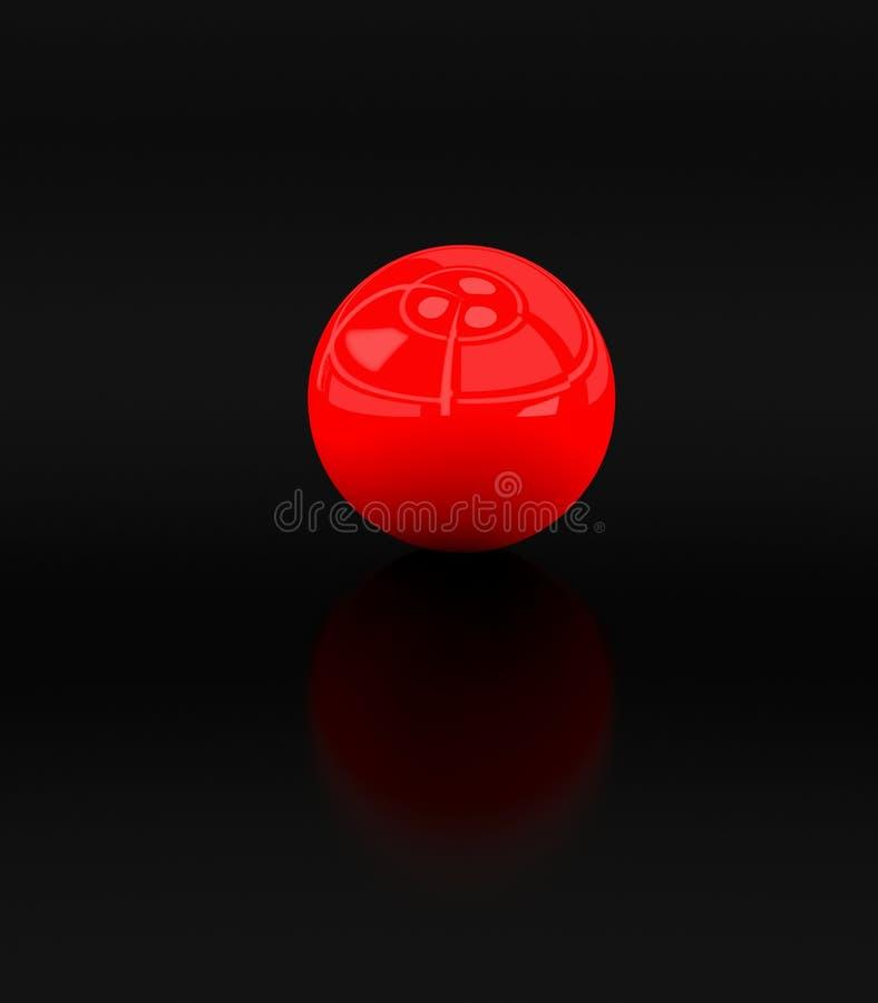bille 3d rouge sur le noir illustration stock
