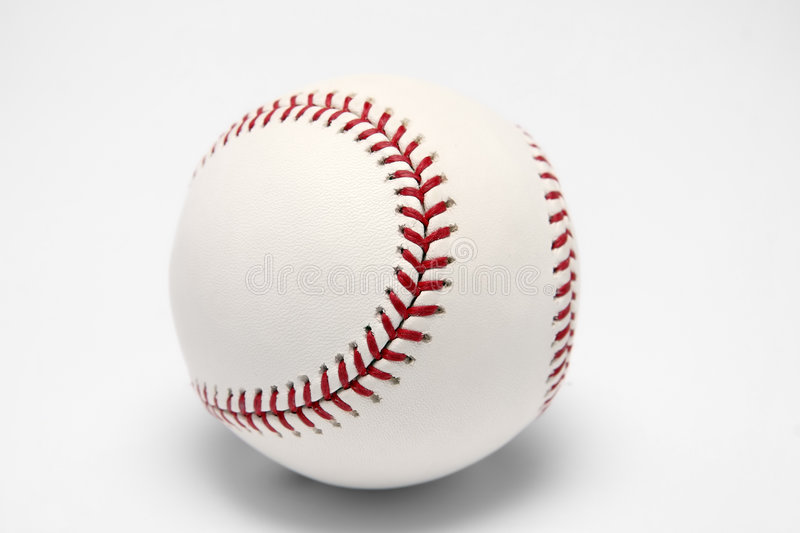 Bille blanche de base-ball sur un fond blanc photo stock