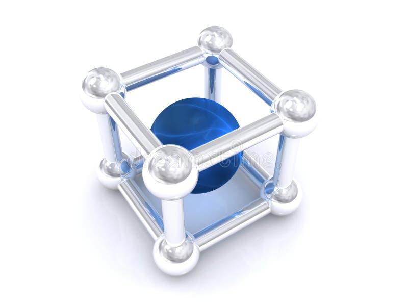 Bille bleue en cube ouvert illustration stock