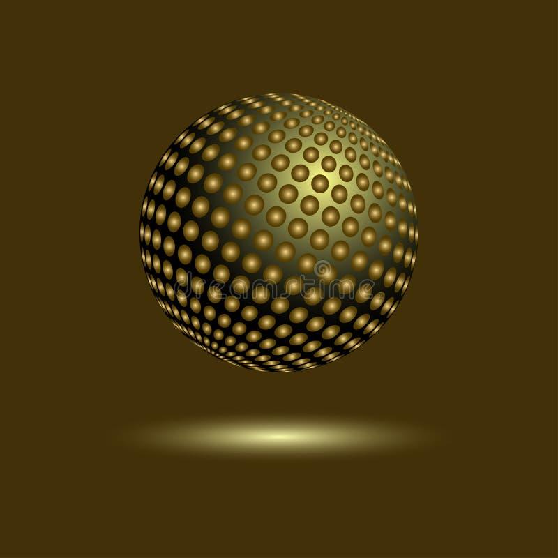 Bille d'or de disco Sphère de miroir sur le fond foncé illustration libre de droits