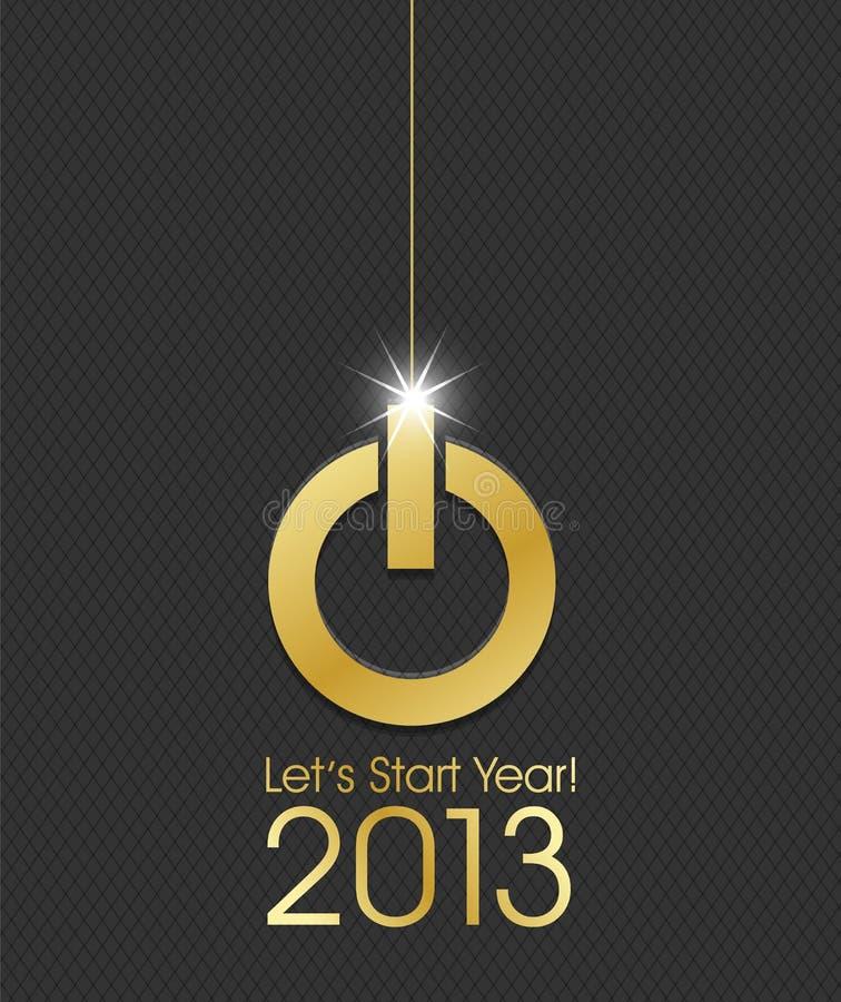 bille d'or de Noël de bouton du pouvoir 2013 illustration de vecteur