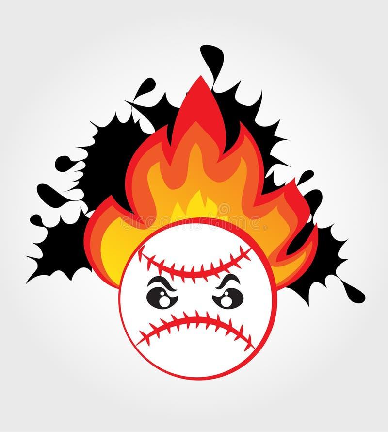 Bille de base-ball sur l'incendie illustration libre de droits