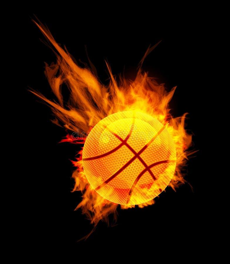 Bille de basket-ball sur l'incendie illustration libre de droits