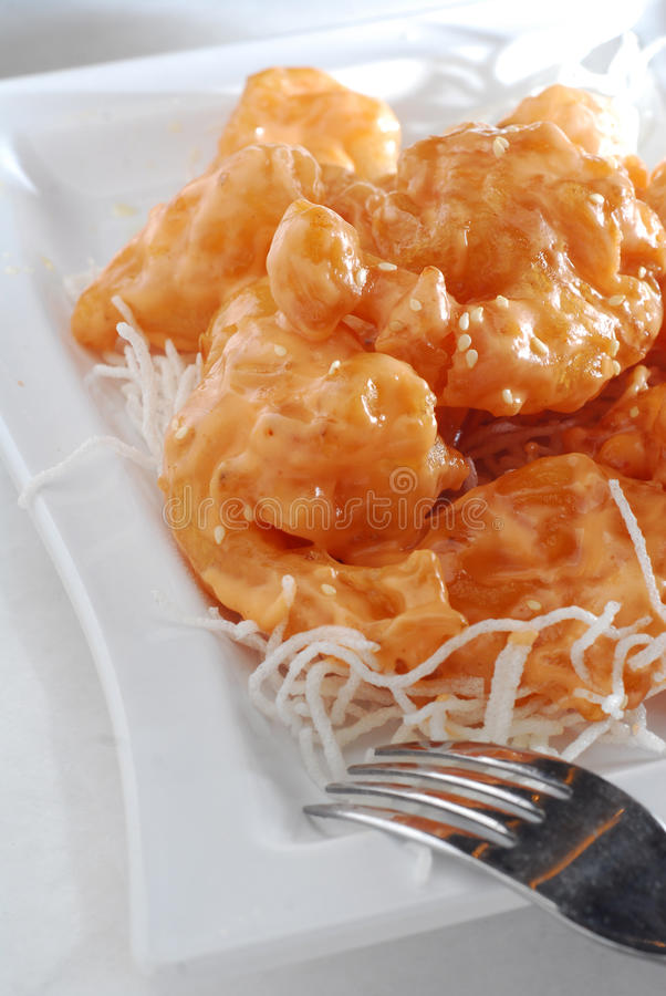 Bille de crevette cuite à la friteuse images stock