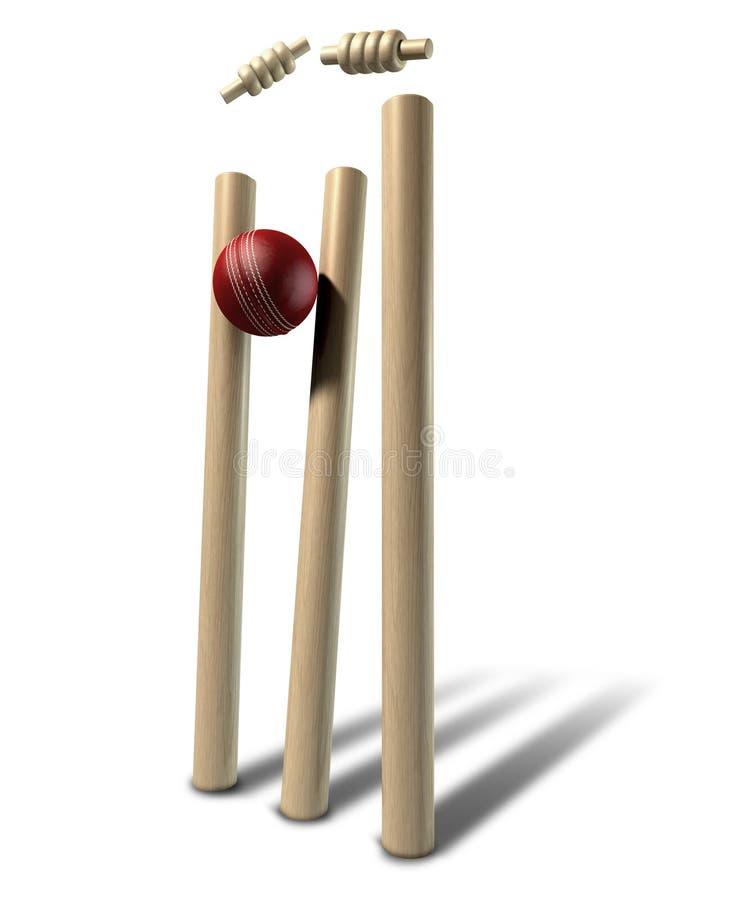 Bille de cricket heurtant le point de vue de guichets d'isolement images libres de droits