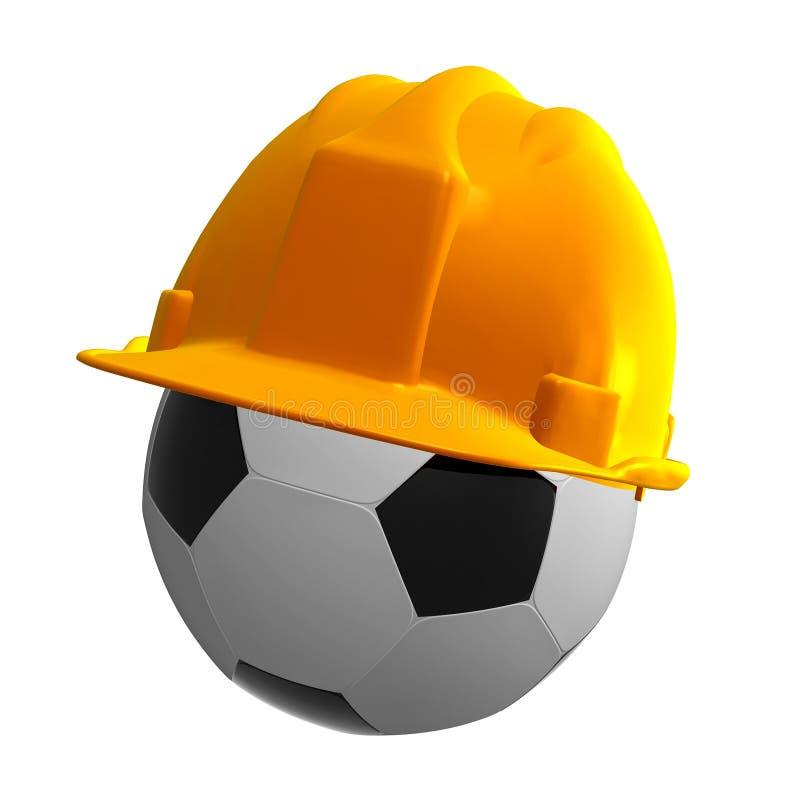 Bille de football avec le casque de sécurité illustration de vecteur