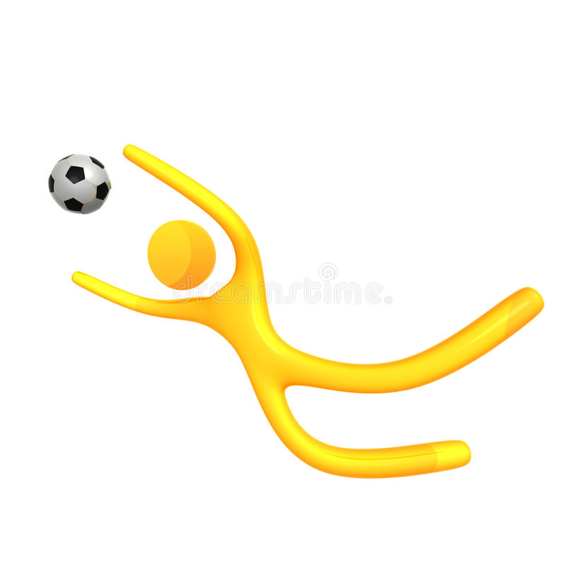 Bille de football contagieuse de graphisme jaune élastique de humanoid illustration de vecteur