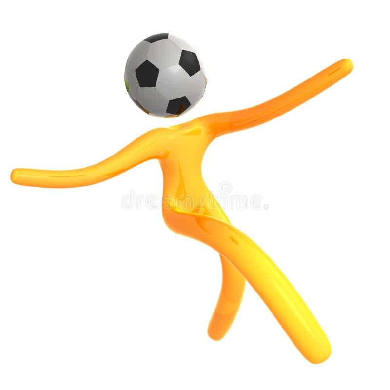 Bille de football contagieuse de graphisme jaune élastique de humanoid illustration stock