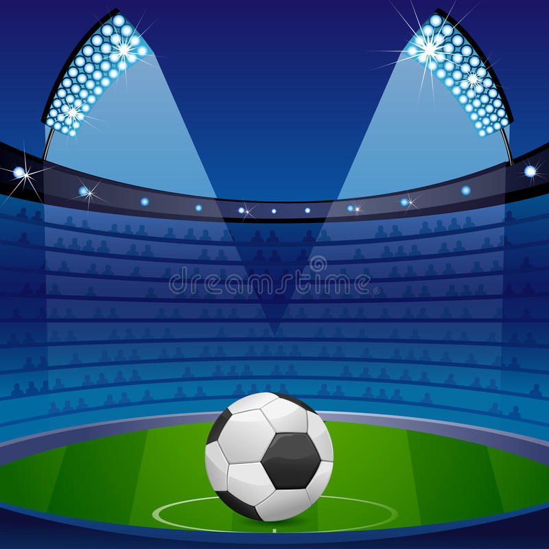 Bille de football dans le stade illustration stock