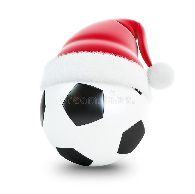 Bille de football de chapeau de Santa illustration libre de droits