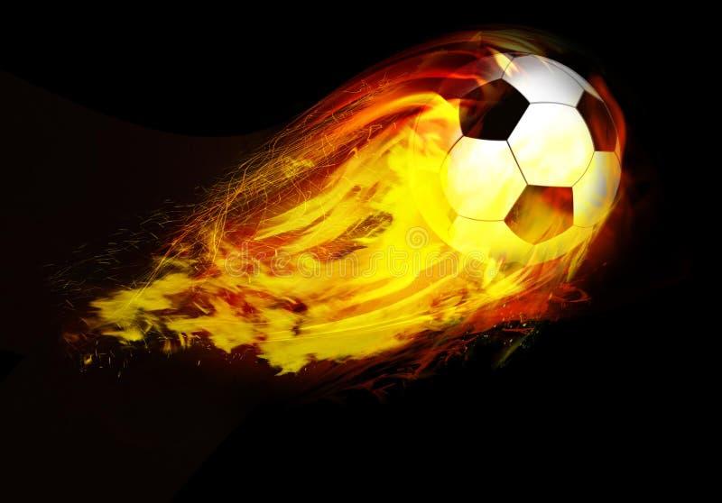 Bille de football par des flammes illustration libre de droits