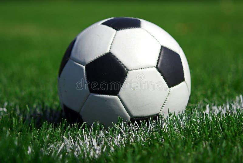 Bille de football sur l'herbe photo libre de droits