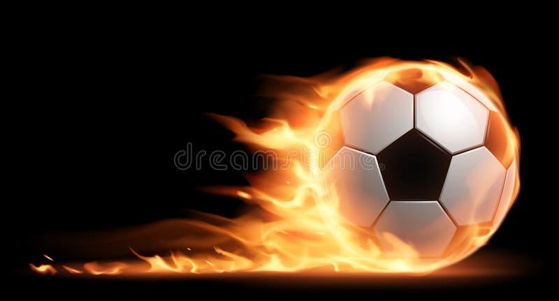 Bille de football sur l'incendie illustration stock