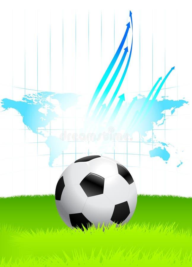 Bille de football sur la zone verte avec la carte du monde illustration stock