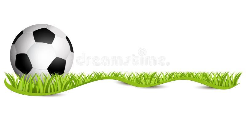 Bille de football sur la zone verte Le football 2018 - freigestellt de MIT Schleifenband de forces d'appoint Rasen de Fussball illustration stock