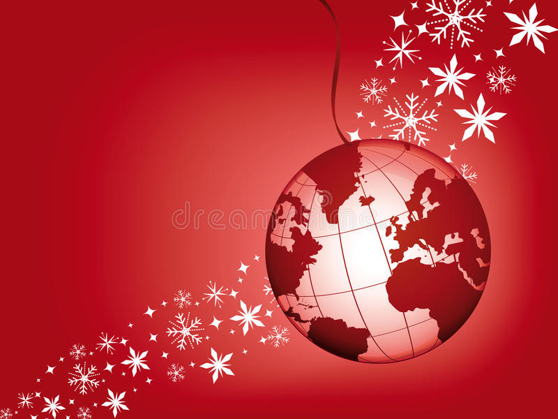 Bille de globe sur un fond rouge de Noël. illustration stock