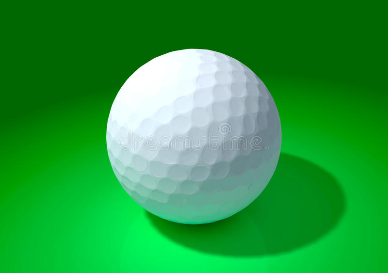 Bille de golf à l'arrière-plan vert illustration stock