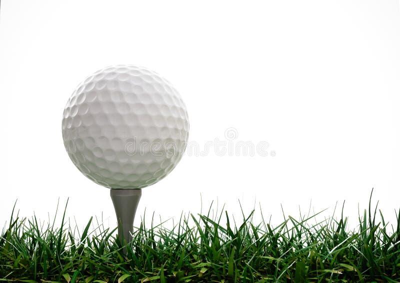 Bille de golf avec le té dans l'herbe photo stock