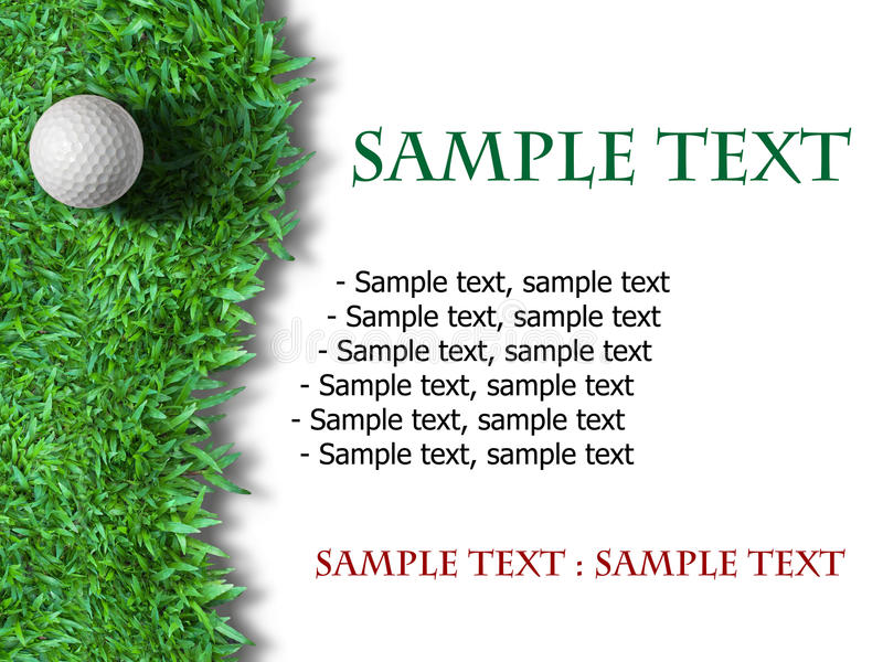Bille de golf blanche sur l'herbe verte illustration stock