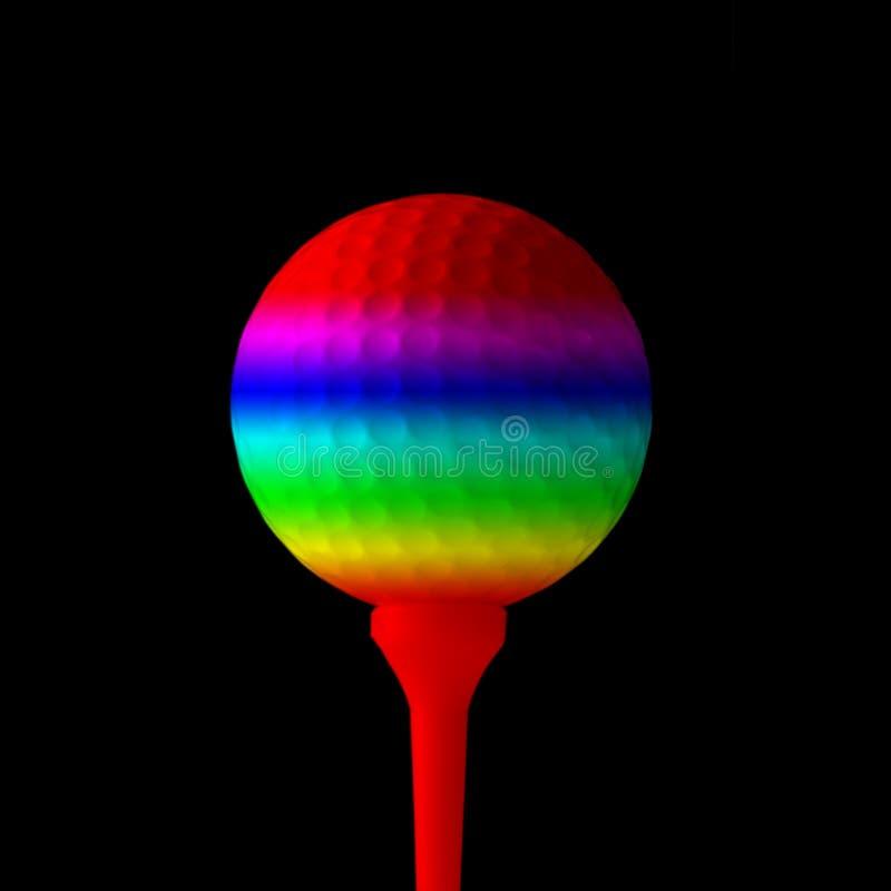 Bille de golf colorée par arc-en-ciel illustration stock