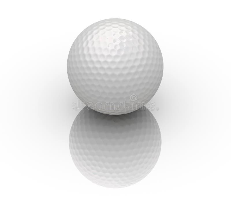 Bille de golf sur la réflexion blanche illustration libre de droits