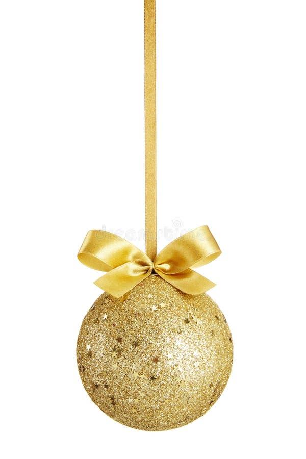 Bille de Noël d'or photographie stock libre de droits
