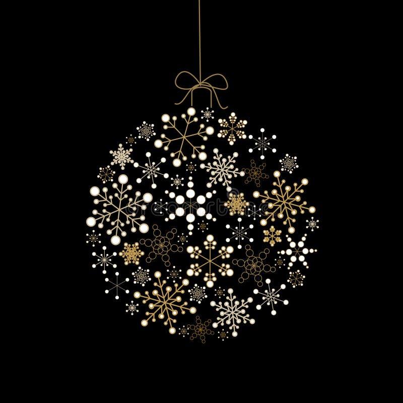 Bille de Noël effectuée à partir des flocons de neige d'or illustration libre de droits