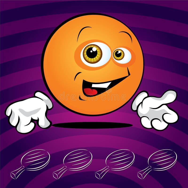 Bille de ping-pong de sourire drôle illustration stock