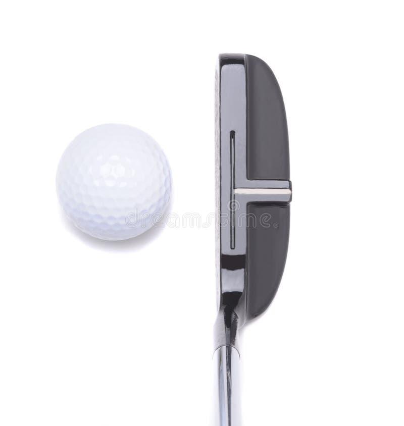 Bille de putter et de golf sur le blanc photographie stock