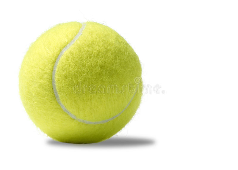 Bille de tennis jaune sur un fond blanc image libre de droits