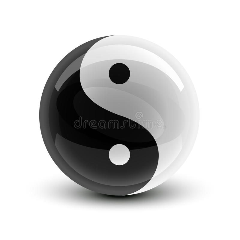 Bille de Yin et de Yang illustration de vecteur