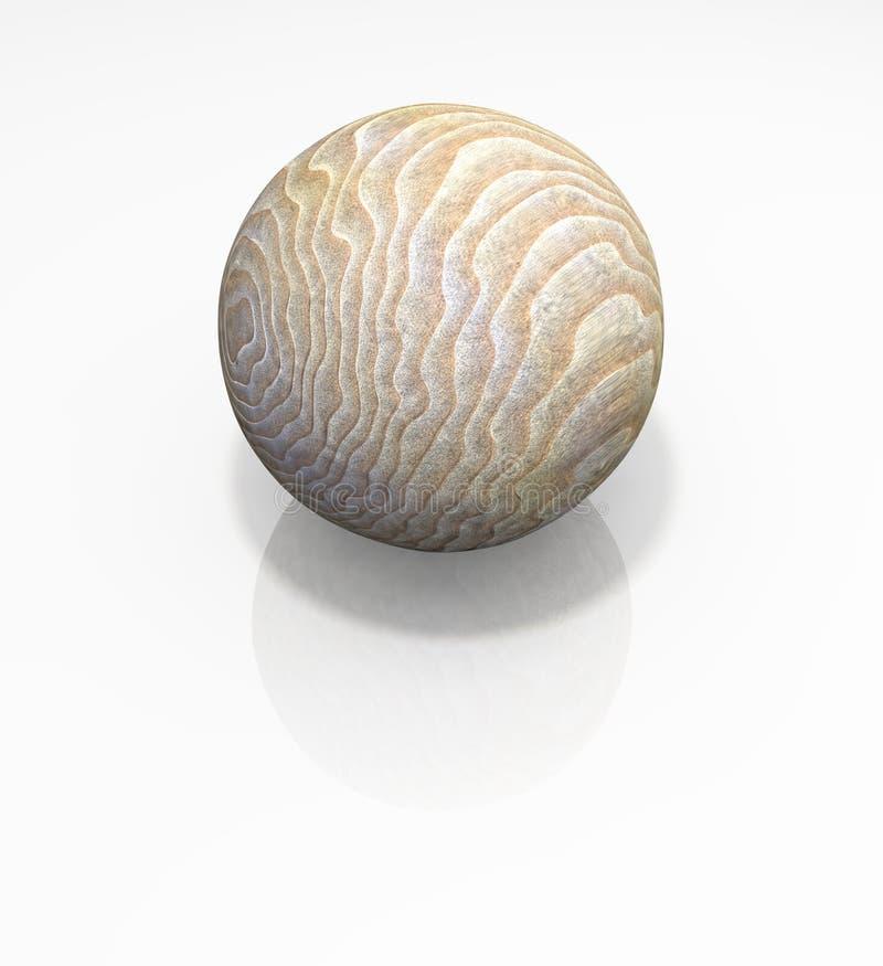 Bille en bois d'isolement de sphère photo stock