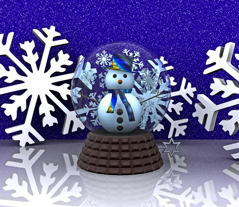 Bille en verre avec le bonhomme de neige - 3D illustration stock