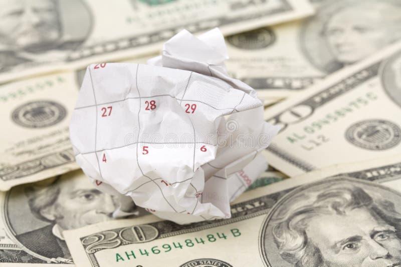 Bille et dollar de papier de calendrier photos libres de droits