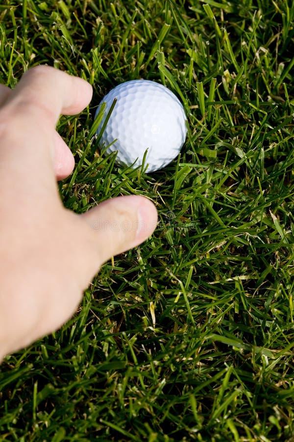 Bille et herbe de golf photographie stock libre de droits