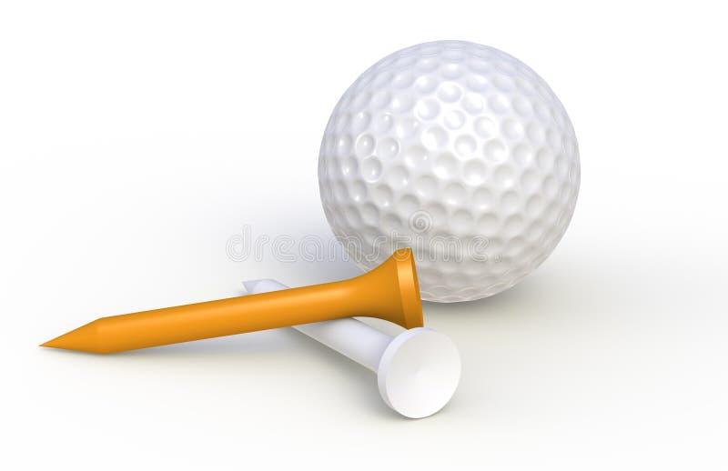 Bille et tés de golf illustration stock