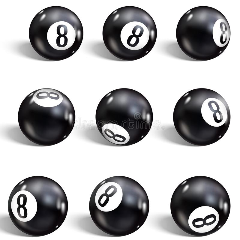 Bille huit Placez de la boule 8 réaliste D'isolement sur un fond blanc Billards d'illustration de vecteur illustration stock