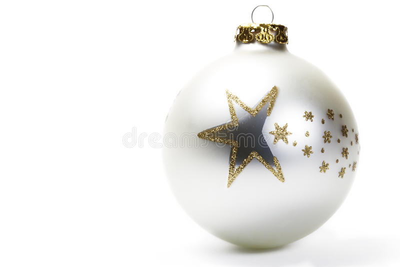 Bille mate de Noël blanc avec les étoiles d'or photo stock