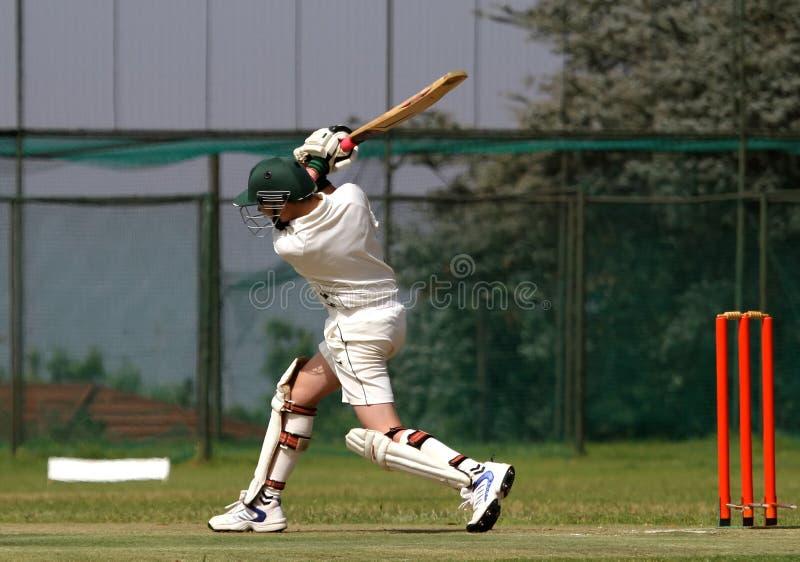 Bille pilotante de garçon de cricket photo libre de droits