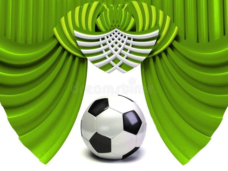Bille verte de rideau et de football illustration de vecteur