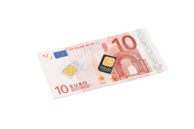 billen cards cell- eurotelefonsim fotografering för bildbyråer