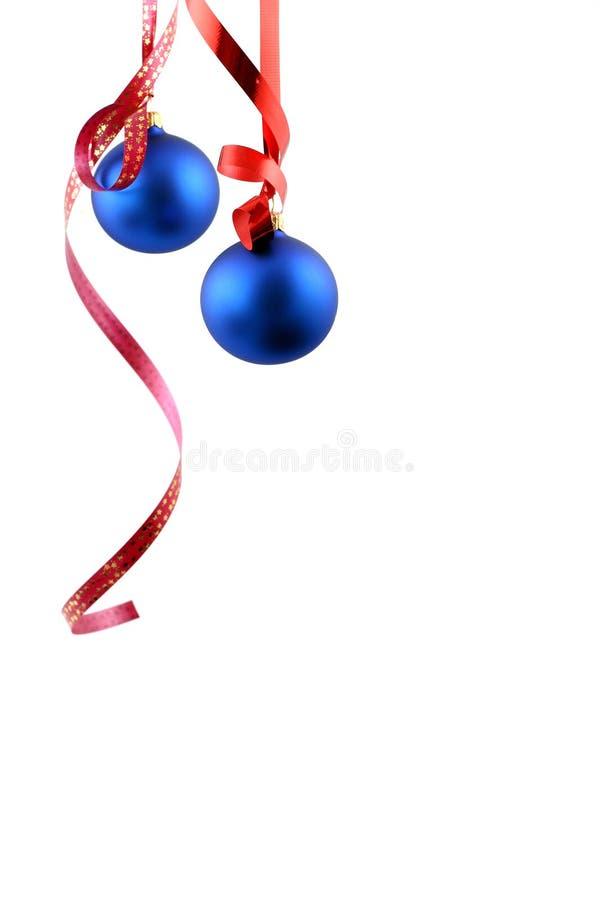 Billes bleues - décoration de Noël photographie stock libre de droits