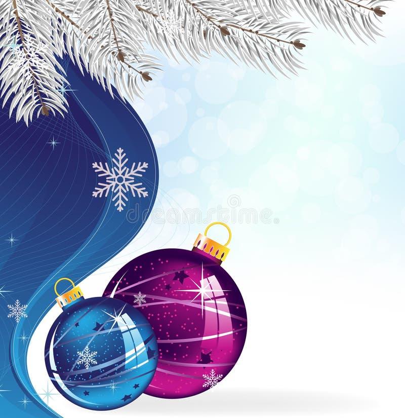 Billes bleues et pourprées d'arbre de Noël illustration de vecteur