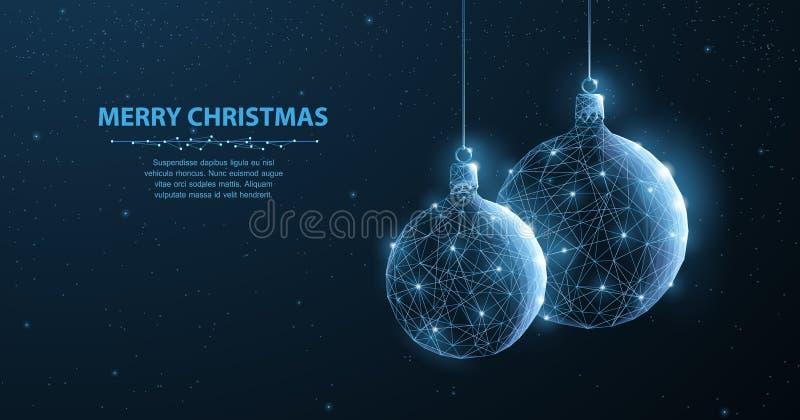 billes Boules abstraites de scintillement de Noël de décoration de l'illustration deux sur le fond bleu avec le flocon de neige,  illustration libre de droits